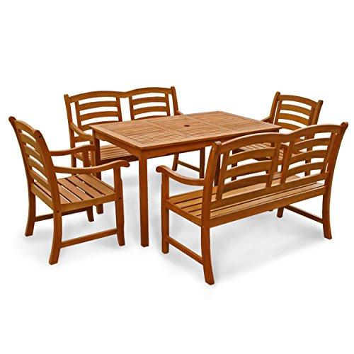 indoba® IND-70293-MOSE5GB2 - Serie Montana - Gartenmöbel Set 5-teilig aus Holz FSC zertifiziert - 2 Gartenstühle + 2 Gartenbänke 2-Sitzer + rechteckiger Gartentisch mit Schirmöffnung