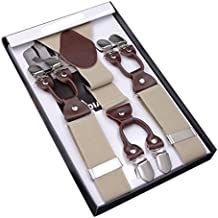 Panegy Retro Hombres Tirantes Elásticos 'Forma Y' Extra Fuerte 6 Pinzas Ajustable (3.5*115cm) Clip-on Suspenders para Pantalones - 8 Modelos a Elegir