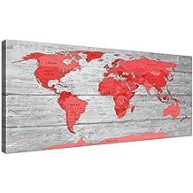 Tamaño grande rojo gris mapa del mundo Atlas lienzo pared impresión artística–moderno 120cm de ancho–1300Wallfillers