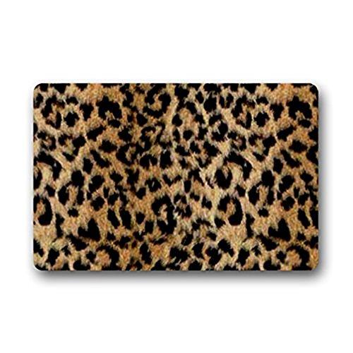 Roman Leopardo Felpudo al Aire Libre/de Interior de Goma Antideslizante Respaldo Frontal Puerta Entrada Felpudo 23,6x 15,7Pulgadas Decoración Alfombra Alfombras