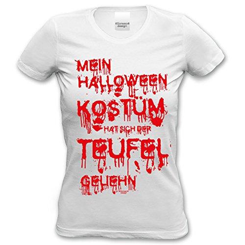 Damen T-Shirt :: Mein Halloween Kostüm hat sich der Teufel geliehn : Halloweenshirt Frauen Farbe: weiss Gr: (Frauen Halloween Teufel Kostüme)
