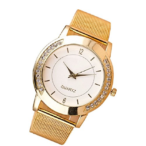 OverDose Mode Damen Crystal Golden Edelstahl analoge Quarz Armbanduhr