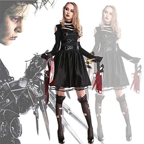 Luckydlc Frau Scary Kostüm Halloween Kostüm Scary Party Dress Up Kleid Terror Killer Sexy Kostüm Party Dekoration luckydlc (Color : Black, Size : L) (Weibliche Killer Kostüm)