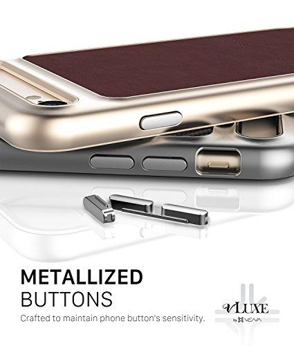 Coque en cuir pour iPhone 8, Vena [vLuxe][Retour en cuir | Bouton métallisé] Housse de protection mince pour Apple iPhone 8 / 7 (4,7 pouces) (Rouge Bourgogne/Or) Rouge Bourgogne / Or