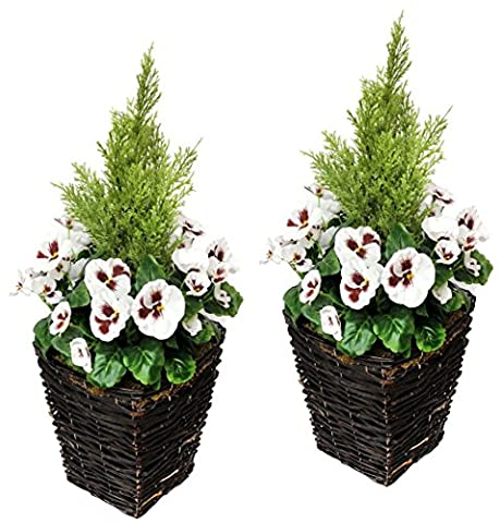 Artificial Patio Planter with White Flowers (Set of 2)