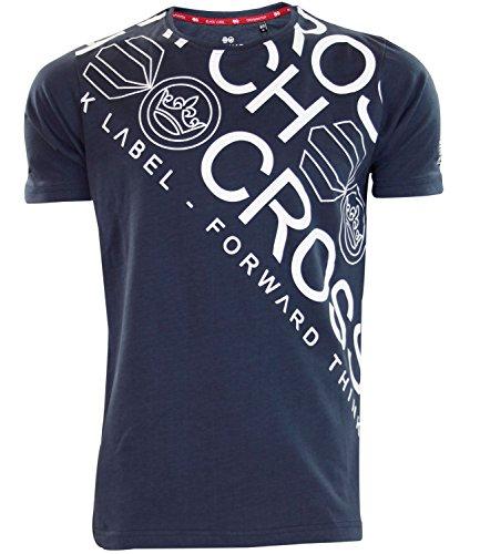 Drucke Neues Mens Crosshatch Kreuz Rundhalsausschnitt -lässige T-Shirt Designer Top Total Eclips