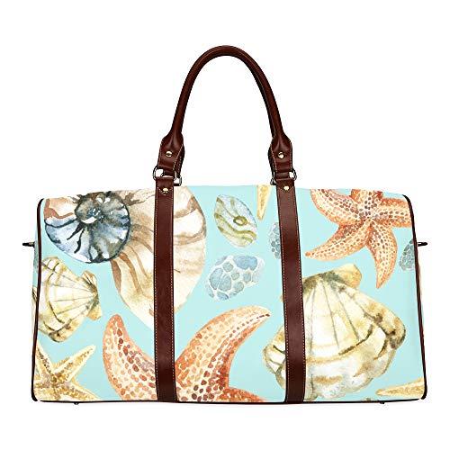 Reise-Seesack Hand gezeichnete schöne Muschel wasserdichte Weekender Tasche über Nacht Carryon Handtasche Frauen Damen Einkaufstasche mit Mikrofaser Leder Gepäcktasche (Wie Aqu)