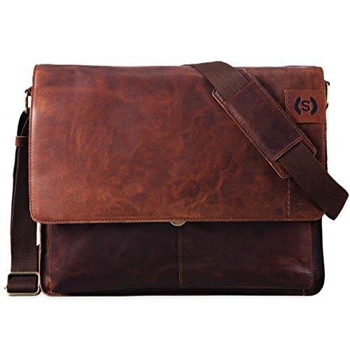 STILORD 'Athos' Businesstasche Leder Herren Damen 15,6 Zoll Laptoptasche Messenger Bag Vintage Umhängetasche viele Fächer & groß Elegante Aktentasche aus echtem Leder, Farbe:Mocca - Dunkelbraun