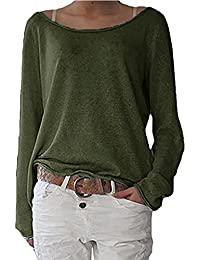 ZANZEA Women's Sexy Casual Autumn Loose Round Neck Long Sleeve Tops Blouse Jumper T-Shirt