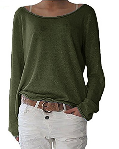 ZANZEA Women's Sexy Casual Autumn Loose Long Sleeve Round Neck Jumper T-Shirt Tops Blouse Army Green M