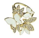 Señoras diamante mariposa pequeño Trio cuello bufanda anillo soporte hebilla nudo Blanco blanco Talla única