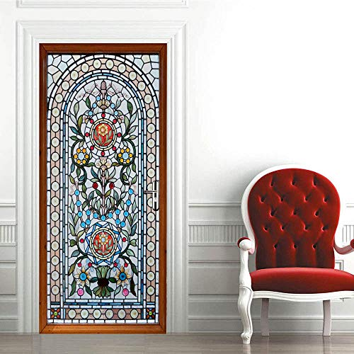 LSDAEER 3D Stereo Tür Aufkleber Glasmalerei Muster Aufkleber Schlafzimmer Wohnzimmer Holztür Dekorative Wandaufkleber Pvc Wand Deko Für Wandsticker Wandtattoo (Glasmalerei Für Muster)