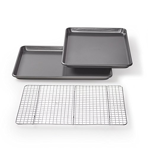 Chicago Metallic Professional Non-Stick Cookie/Jelly-Roll Pan Set with Cooling Rack, 17-Inch-by-12.25-Inch -