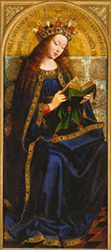 Kunstdruck/Poster: Michiel Coxcie Kopie nach Van Eyck Die Jungfrau Maria Genter Altar - hochwertiger Druck, Bild, Kunstposter, 45x100 cm -