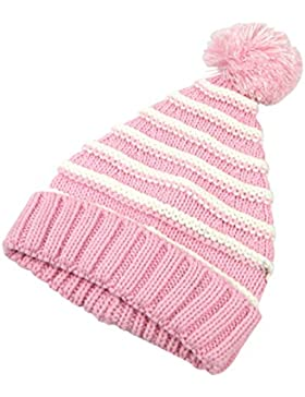 OULII Bambini Cappello Invernale, OULII berretto Pom Pom a maglia per bambini regalo di Natale (Rosa e bianco)