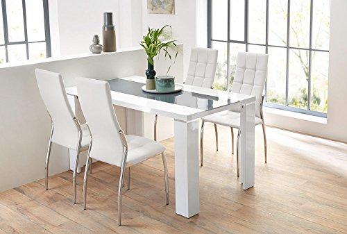 lifestyle4living Esstisch in weiß Hochglanz, Esszimmertisch mit Metall-Applikationen, 140 cm breit und 80 cm tief, Küchentisch rechteckig und modern