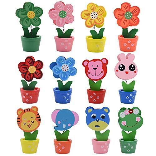 Foto-Halter - Cartoon-Tier-Blumentopf Tischnummernhalter Party Dekoration Kartenhalter Bild Memo Note Foto Clip Halter 12 Stück ()