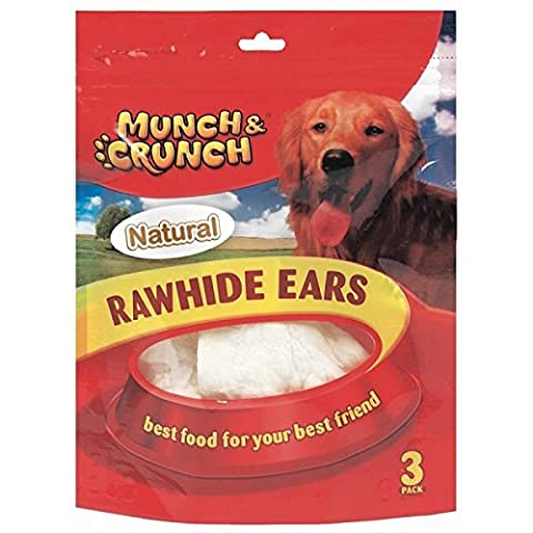 6 Raw Hide Ears Natural /2 Packs of 3