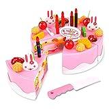 Finer Shop 37pcs Plastikküche Schneiden Toy Geburtstagstorte täuschen Spiel-Lebensmittel Spielzeug-Set für Kids Mädchen - Rosa