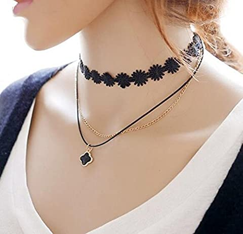 Fashion And Personality Collarbone Chain Double Lace Choker Necklace With Dangling Beautiful Beads Charm Pendant Collar Chain Necklace for Women Girls Best Gift