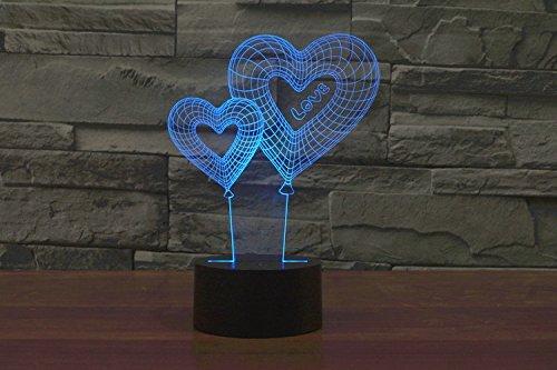 ATD® Perfect San Valentín Año nuevo Día regalo Doble Corazón Globo TE AMO Los gradientes de colores 3D toque LED Luz de noche