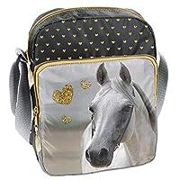 PASO - PFERDE kinderschoudertas 24x18x6 cm - motief paard - goud, wit, ZWART 24 x 18 x 6 CM goud, wit, zwart