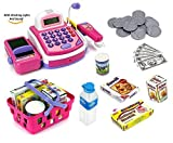 Prextex Pretend Play Electronic Toy Cash Register With Mic Speaker And Play Money
