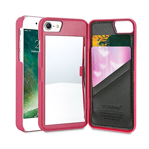 FLOVEME iphone 7 Custodia con Specchio Carta Slot Ultra Sottile Mirro Case per Donna Ragazza Make up Trucco Cover Compatibile a iphone 7 Nero Rose Pink