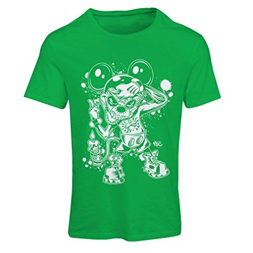 (lepni.me Frauen T-Shirt Eine Maus mit Einem tollen Halloween-Party-Kostüm (Large Grün Mehrfarben))