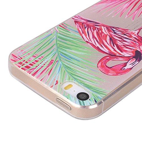Étui iPhone 5/5S/SE Coque Silicone, Moon mood® Souple TPU Transparent en Fleur Coque de Protection pour Apple iPhone 5/5S/SE Doux Cas Gel Housse antichoc Portable Arrière Étui Téléphone Bumper Shell S 3PCS