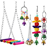Zhehao 5 Pieces Parakeet Bird Toys Bird Perches Swing Toys Hanging Toys with Bells for Conures Parrots Parakeets Cockatiels Macaws Finches
