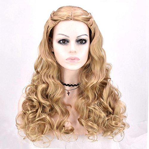 Blonde Wavy Lange Perücke für Frauen Cosplay Party Täglicher Gebrauch Fancy Dress Mit Braids Weiches Synthetisches Haar Natürliches Schauendes Hochtemperatur-Faser-Haar