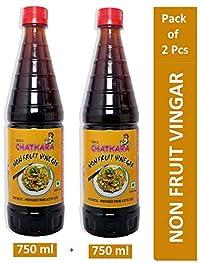 GSA's Chatkara® Non Fruit Black Vinegar (750ml+750ml) for Food, Pantry, Cooking, Onion & Salads. Combo Pack of Bottles.