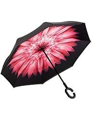 XIANGYUE Parapluie du bordage extérieur à double épaisseur,qui peut se tenir debout,parapluie pliant au sens inverse avec la manche en forme de « C »,il est anti-ultraviolet et il peut contre le vent en utilisant dans la voiture et dans le voyage
