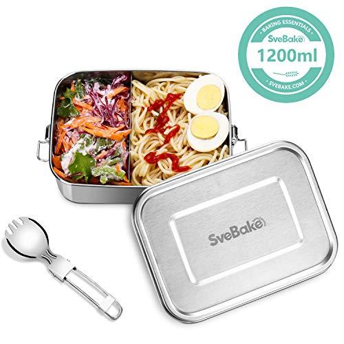SveBake Lunchbox Edelstahl Auslaufsicher - 1200ml Brotdose aus Metall mit fächer - Lunchbox Geeignet für Schule, Kinder & Erwachsene, inkl. Besteck