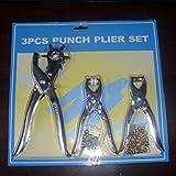 Juego de 3 alicates de perforación de cuero perforadora herramienta de reparación para cinturones de cuero papel manualidades plateado plateado