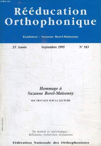 Reeducation orthophonique, 33e annee, n° 183, sept. 1995