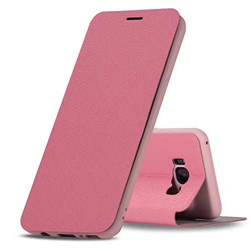 YHUISEN Galaxy S8 Plus case, Luxus Ultra Thin Flip PU Ledertasche mit Ständer für Samsung Galaxy S8 Plus ( Color : Rose ) Rose