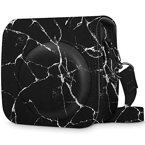 Fintie Tasche für Fujifilm Instax Mini 8/Mini 9 Sofortbildkamera - Premium Kunstleder Schutzhülle Reise Kameratasche Hülle Abdeckung mit Abnehmbaren Riemen, Marmor Muster Schwarz