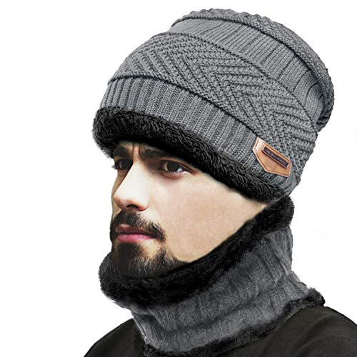 af8d8dc0fe441 Unisex Winter Beanie Hat Scarf Set Warm Knitted Hat and Circle Scarf Set  Outdoors Scarf Beanie