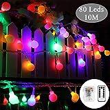 80 Leds Globe Lichterkette 10 Meter, Tomshine Mehrfarbige Kugel Lichterkette mit IR Fernbedienung, Batteriebetriebene/IP44 Wasserdicht