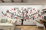 Alicemall Sticker Mural Arbre Photo Stickers Salon Décoration de Maison Autocollant Mural (Pattern 2(Branches noires et feuilles rouges))