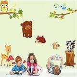 Mélange des animaux et des branches et des troc Autocollant mural de PVC à la maison papier peint en vinyle pour la décoration papier peint au salon, à la chambre et à la cuisine les photos d'art DIY à la salle de jeux pour des enfants...