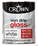 Crown Non Drip Gloss Paint for Interior & exterior Wood/Metal - Pure Brilliant White - Brand New