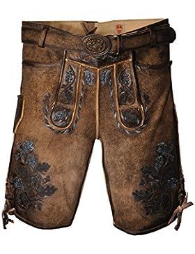 MADDOX Lederhose Amsel - Kurze Herren Lederhose in Braun Blau speckig aus Ziegenleder - Größen 46-58