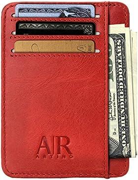Tarjetero para hombre con seguridad RFID de piel auténtica – Cartera fina – Billetera delgada de cuero con diseño...