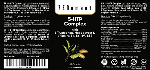 51Tb2Q0l ZL - 5-HTP Complex with L-Tryptophan, Hops extract and Vitamins B1, B6, B9, B12, 60 Capsules, for mood, sleep, pain, anxiety and obesity | 100% Natural, Non-GMO