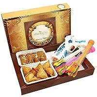 Ghasitaram Gifts Holi Hampers: Big Box of Dry Sweet Gujiyas, Farsan Samosa, Magic Water Balloons and Water Guns