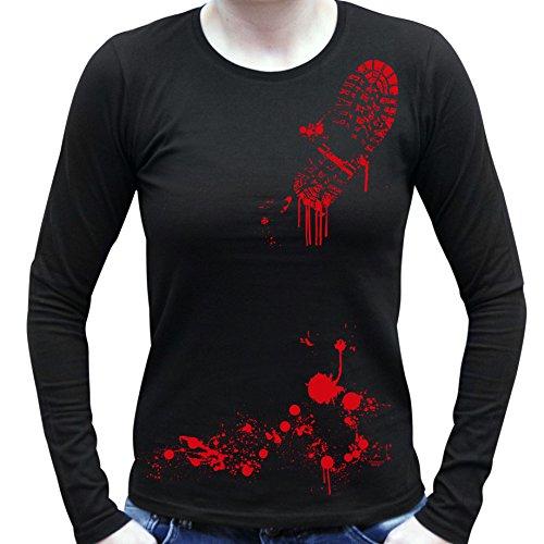 e-Halloween-Kostüm Langarm Fun T-Shirt coole Geschenk Idee Blutiger Schuhabdruck Geister Gespenster Kürbis Outfit Farbe: schwarz Gr: L (Blutige Blutige Halloween Kostüm Ideen)