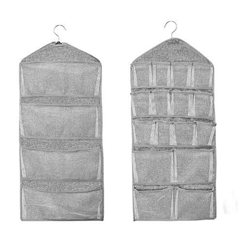 Dual-Sided hängenden Schrank Pocket Organizer 20 Mesh-Taschen mit Metallbügel für Unterwäsche, Socke und BH (Beige)